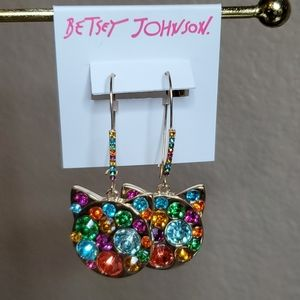Betsey Johnson Jeweled Cat Head Dangle Earrings